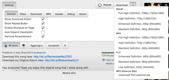 YouTube Center in azione con il menu di download aperto.